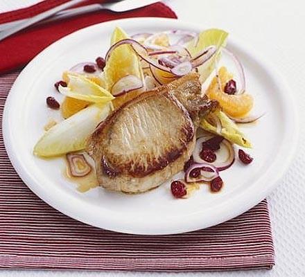 Pork with fruit bowl salad