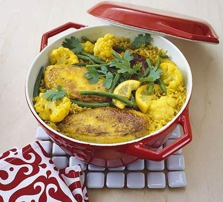 Spiced chicken & cauliflower pilaf