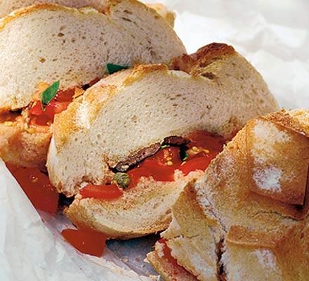 Pan bagnat loaf stuffed with salade nicoise