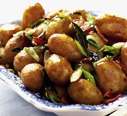 New potatoes with spring onions & bacon