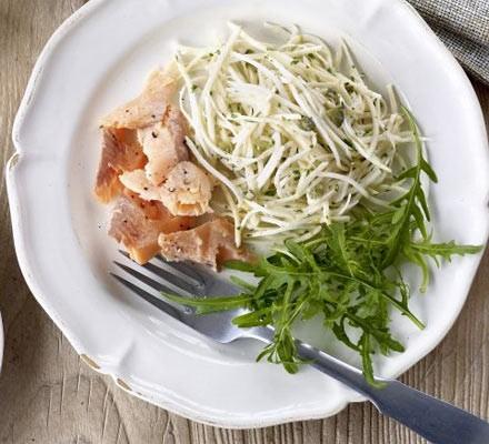 Celeriac tartare with smoked trout