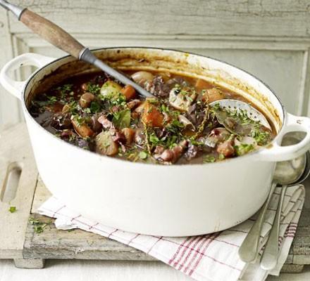Beef bourguignon in a cast iron casserole dish