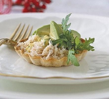 Crab, avocado & herby hollandaise tarts