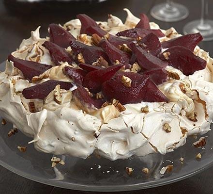 Pecan toffee meringue with mulled pears