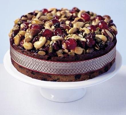 Jewelled fruit, nut & seed cake