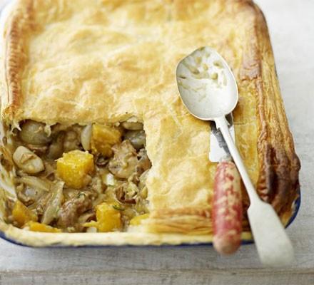 Mushroom, shallot & squash pie
