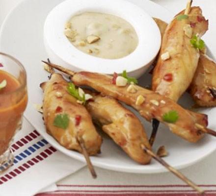 Chicken skewers with satay dip