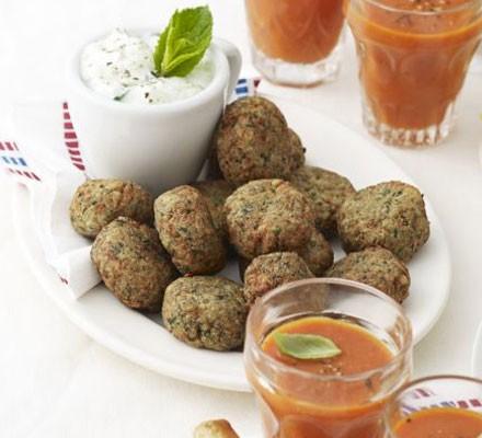 Spinach & feta falafel bites