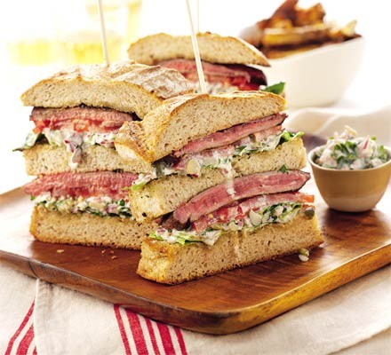 Triple-decker steak sandwich