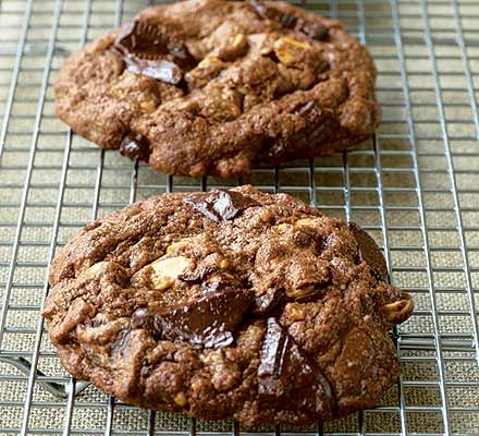 All-American chocolate chunk cookies on wire rack