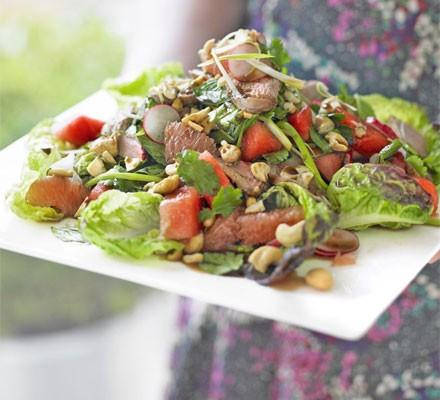 Duck, watermelon & herb salad with roast cashews