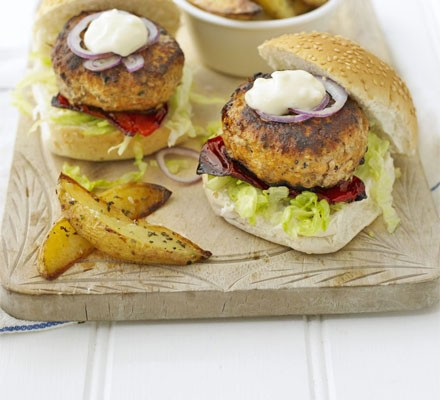 Pork Burgers With Herby Chips Recipe Bbc Good Food
