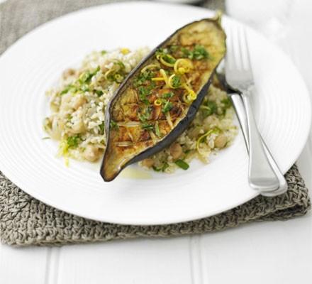 Roasted aubergine with bulgur & zesty dressing