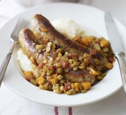 Italian sausage stew with rosemary garlic mash