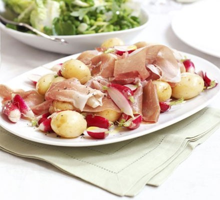 New potatoes with radishes & cured ham