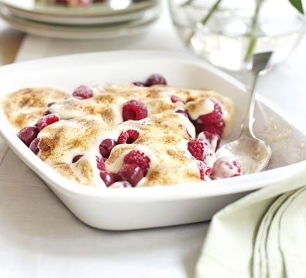 Cherry & raspberry gratin