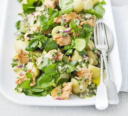Watercress, new potato & salmon salad