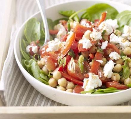Warm chickpea, chilli & feta salad