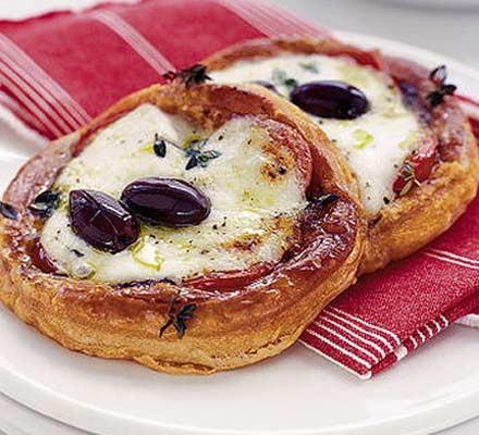 Mozzarella, tomato & black olive tarts