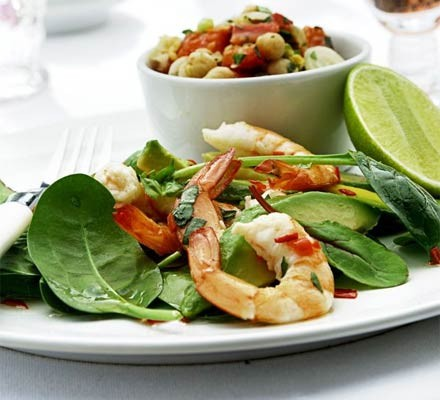 Prawn & avocado platter with lime & chilli dressing