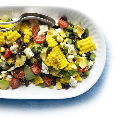 Spicy corn, black bean & feta salad on a plate