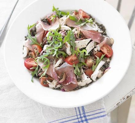 Warm lentil salad with Serrano, chicken & rocket