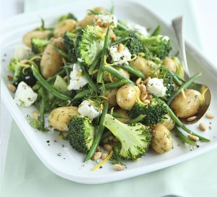 Lemony potato, broccoli & goat's cheese salad