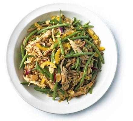 Shredded chicken, green bean & barley salad with paprika & lemon