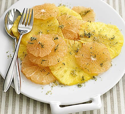 Pineapple & pink grapefruit with mint sugar