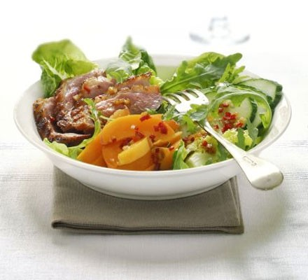 Warm duck, apricot & rocket salad