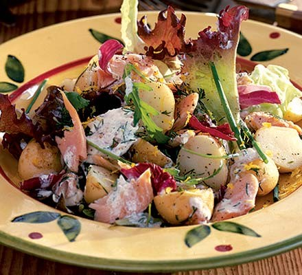 Warm trout salad with dill & lemon