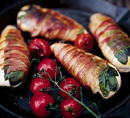 Pancetta chicken wraps