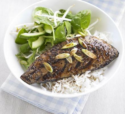 Teriyaki mackerel with tangy cucumber salad