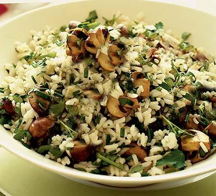 Lemony mushroom & herb rice