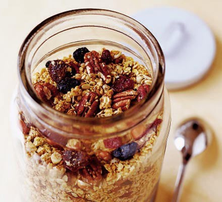 Crunchy granola with berries & cherries