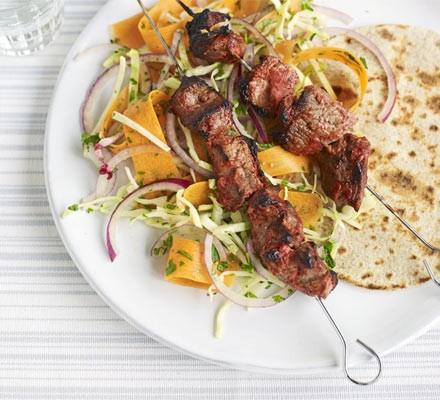 Tandoori lamb skewers with crunchy slaw & raita