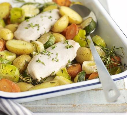All-in-one roast chicken & veg