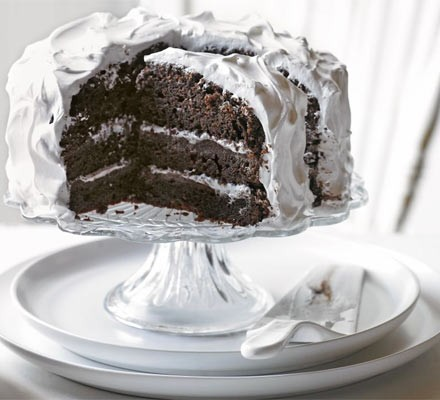 Chocolate fudge cake with angel frosting