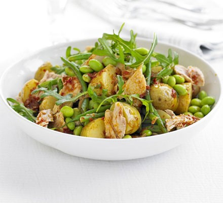 Two bean, potato & tuna salad