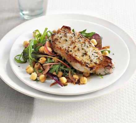 Lemon & rosemary pork with chickpea salad
