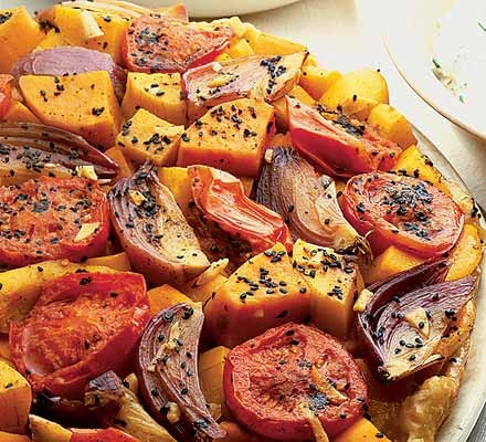 Spiced squash & sweet potato tarte tatin