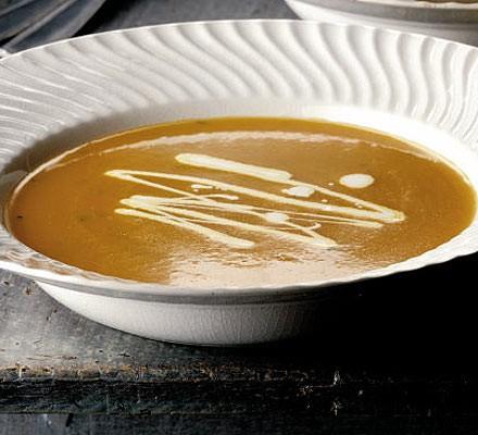 Orange, carrot & mint soup