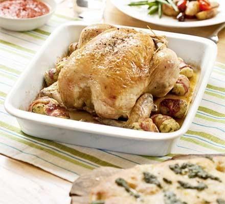 Roast chicken with pancetta & ricotta stuffing balls