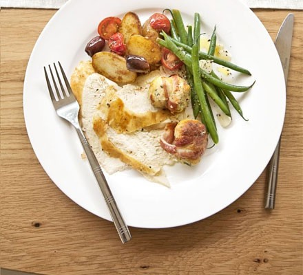 Warm potato & cherry tomato salad