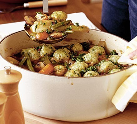 Spring veggie casserole with little herb dumplings