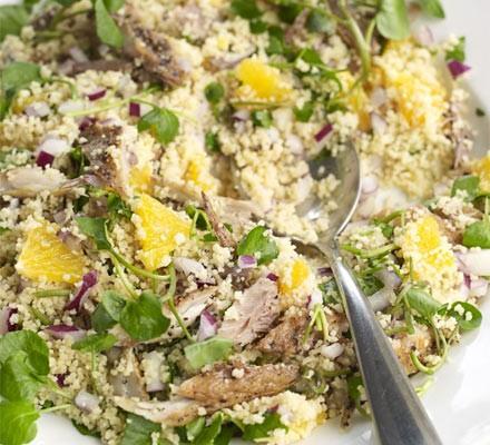 Smoked mackerel, orange & couscous salad