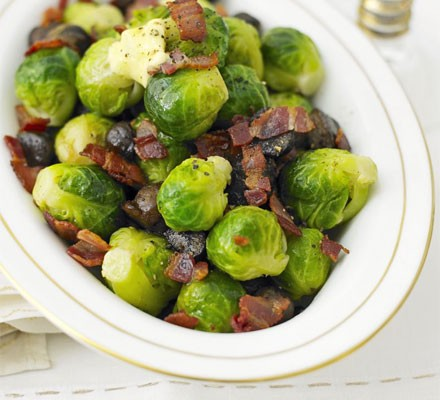 Buttered sprouts with chestnuts & bacon in a smart serving dish