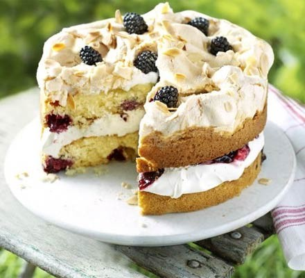Blackberry & almond meringue cake