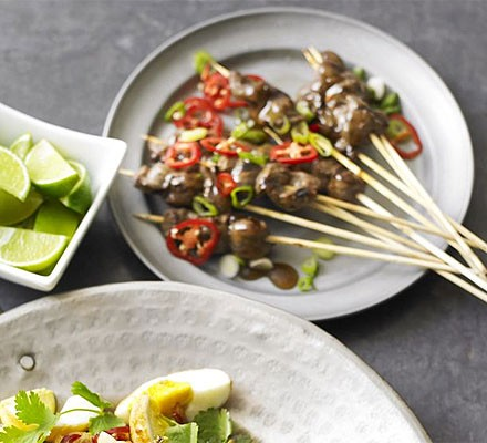 Skewered beef with oyster sauce