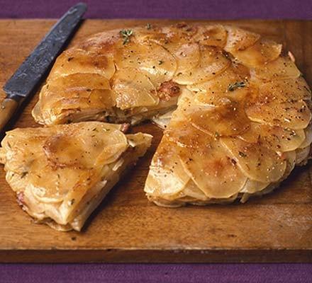 Sliced turnip & bacon bake